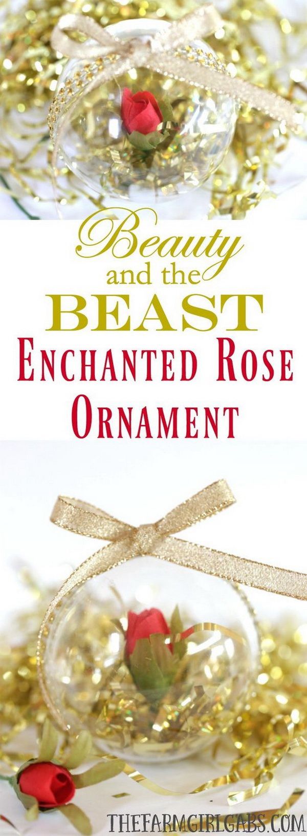 DIY Beauty and The Beast Enchanted Rose Ornament. These simple DIY Beauty And The Beast Enchanted Rose Ornament are a fun Christmas holiday craft for Disney fans of all ages.
