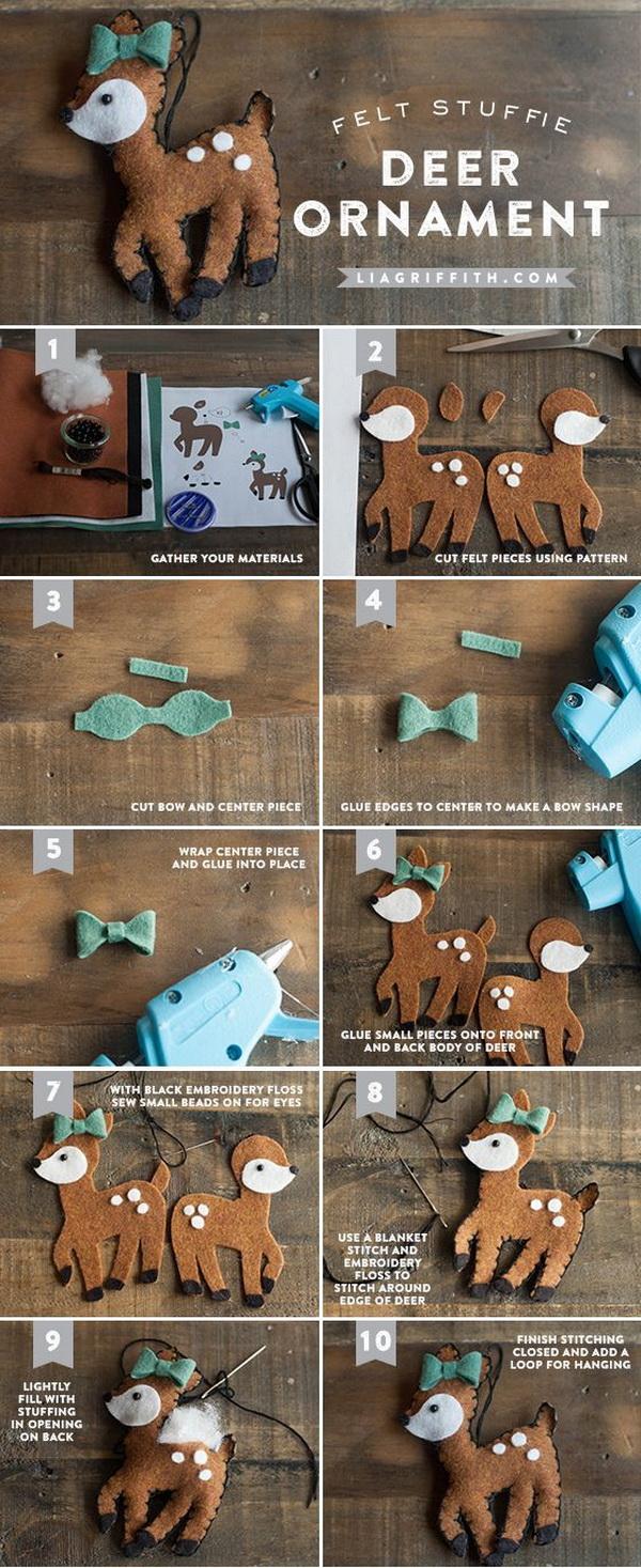 DIY Deer Felt Christmas Ornaments. Make these adorable DIY Felt Christmas Ornaments for your holiday decoration!
