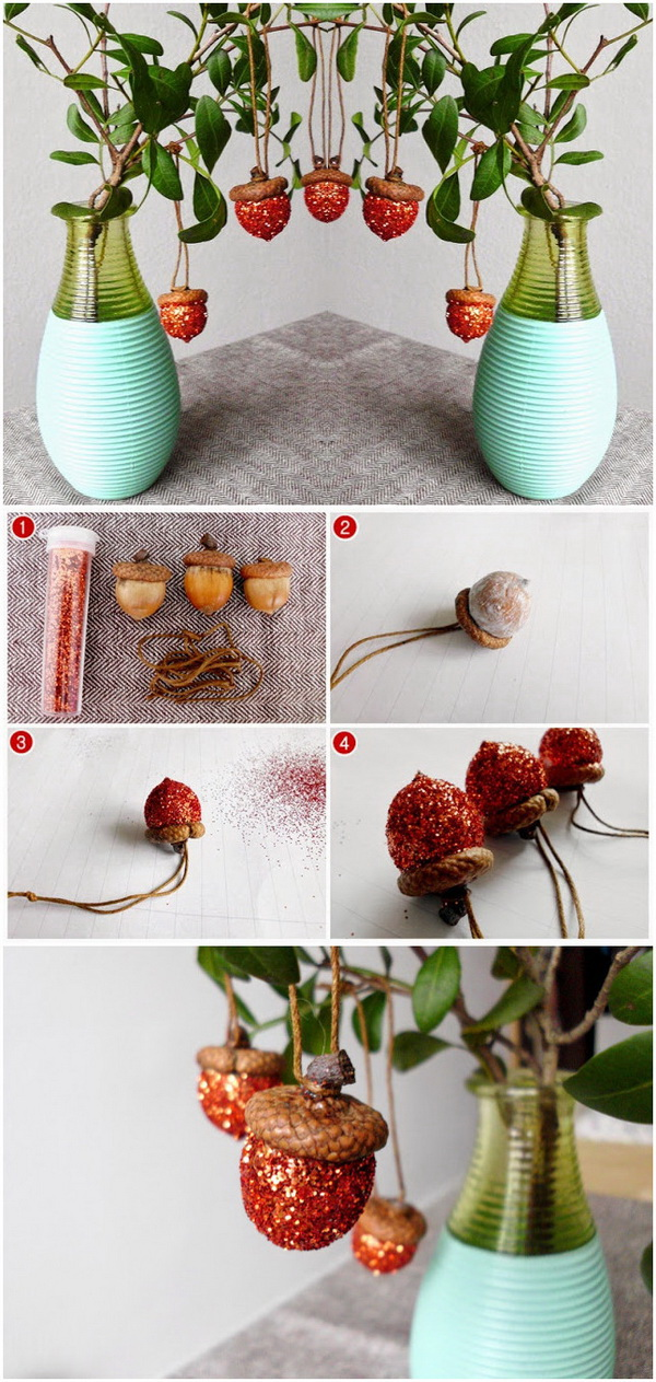 DIY Glitter Acorn Ornaments. A quick and easy way to add a little holiday decor to your home with these festive glitter acorn ornaments in red!