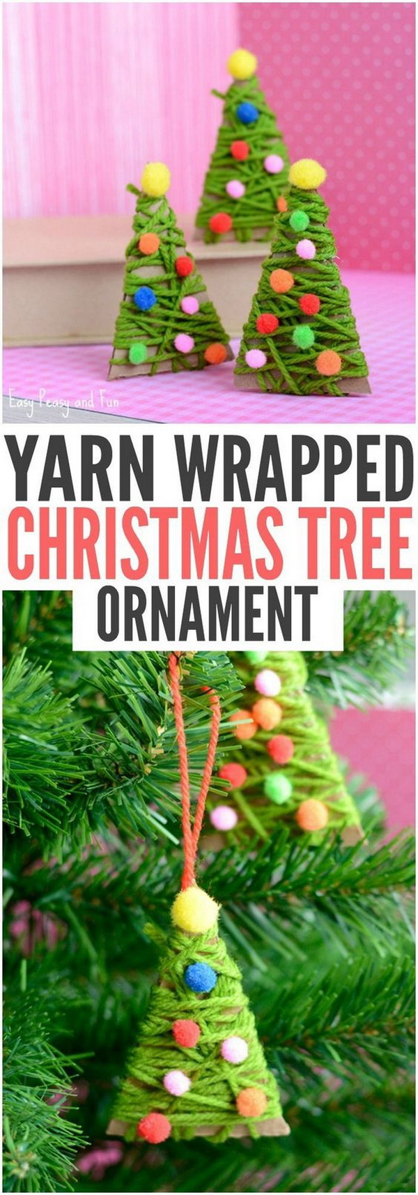 Yarn Wrapped Christmas Tree Ornaments. This yarn wrapped Christmas tree ornaments are a great project both as a Christmas craft or as an ornament for your tree.