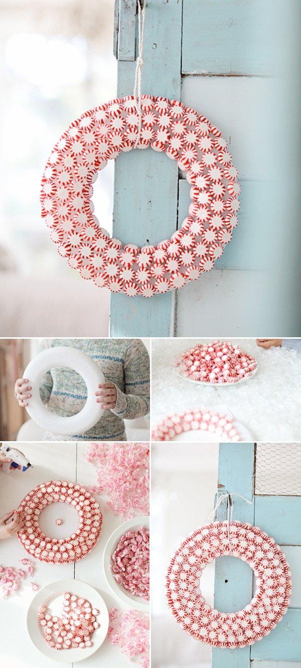 Handmade Peppermint Christmas Wreath.