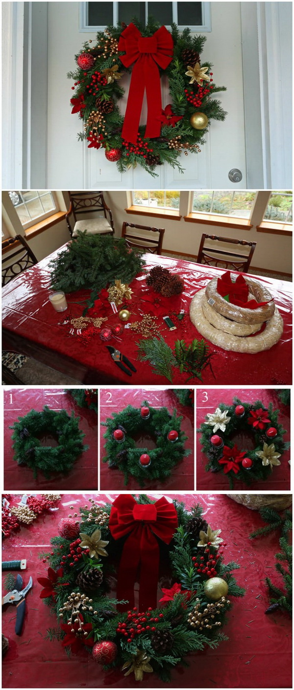Homemade Greenary Christmas Wreath.