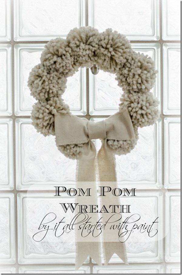 Pom Pom Wreath For Christmas.