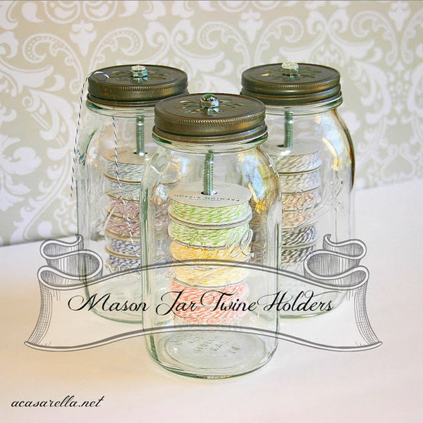 Mason Jar Twine Holders. Store twine in a mason jar topped with a hole cut-out lid. Thread the string through the cut-outs for easy access. What an easy and creative way to store and keep twine, floss organized!