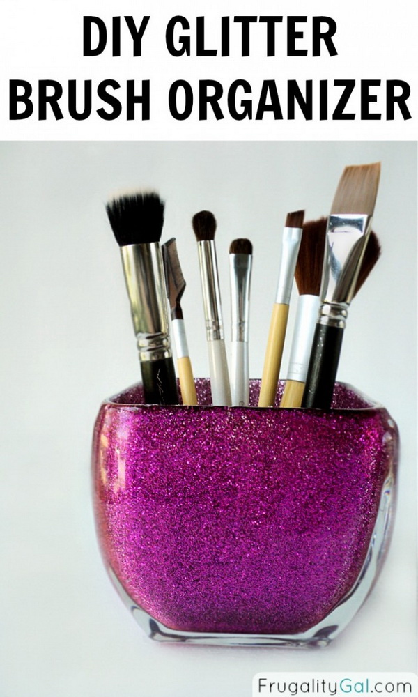 DIY Glitter Brush Organizer. Turn any glass jar into a sassy brush holder to organize your craft brushes or other items. You can add glitters in the color of your choosing for a nice look.
