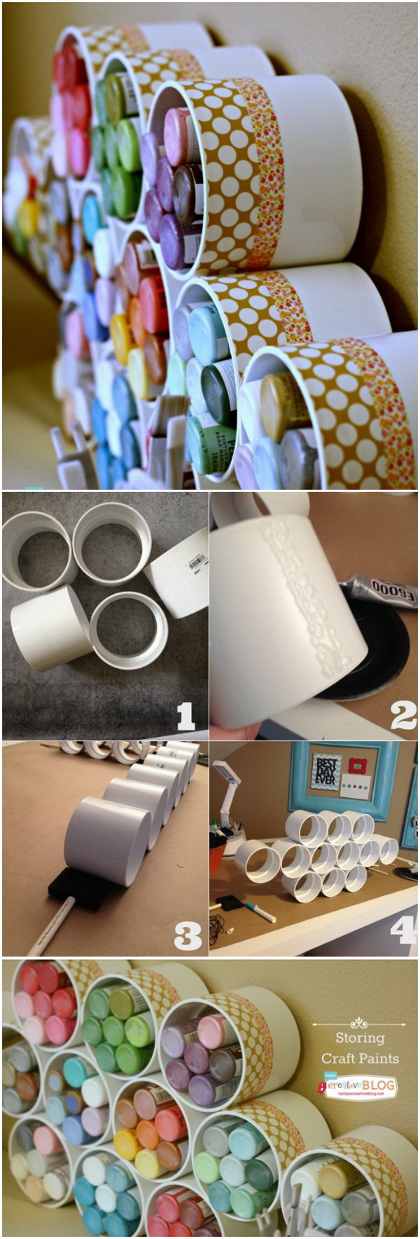 Craft Paints Storage with PVC Pipes. Clever craft paints storage ideas with PVC pipes! & Craft Room Organization u0026 Storage Ideas - For Creative Juice