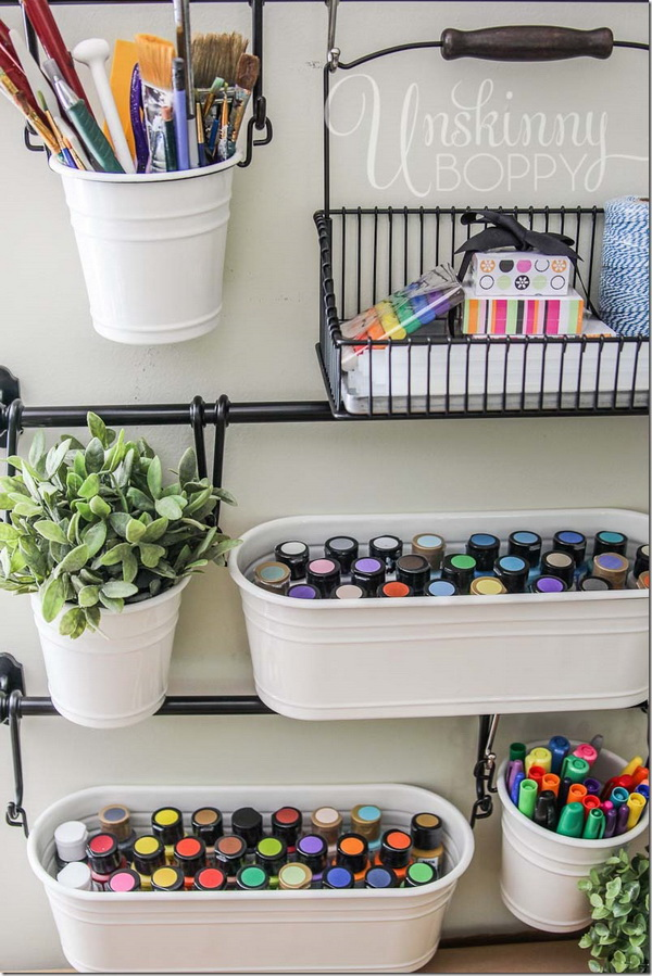 IKEA Buckets for Craft Room Storage. The IKEA Fintorp series of buckets and hooks turned out to be the perfect and pretty organization idea for any craft room!