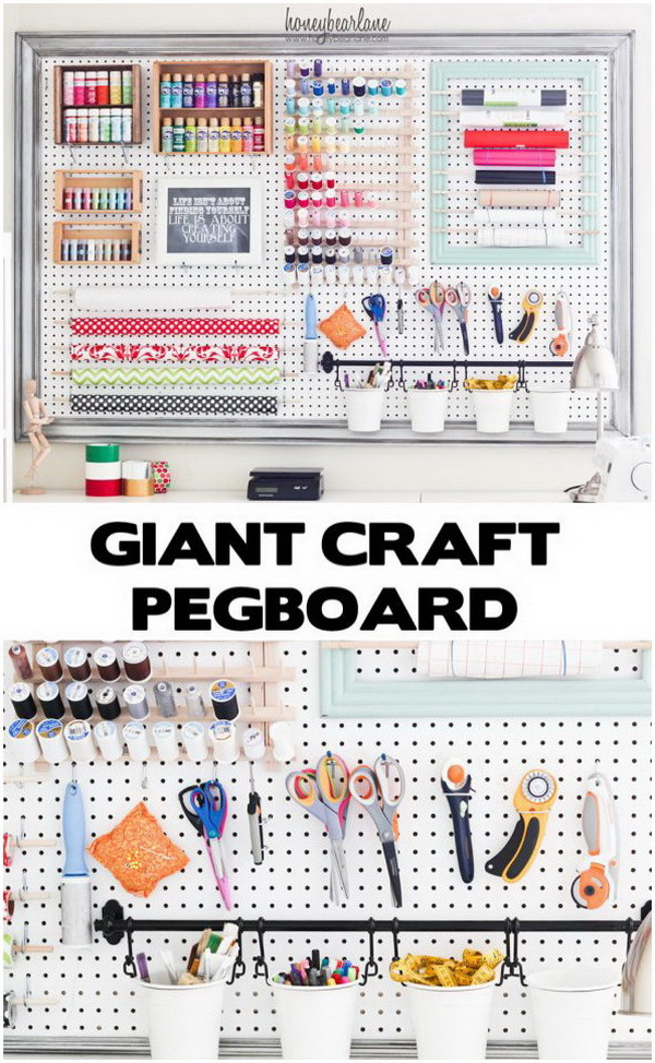 DIY Extra Large Pegboard For Craft Room Organization. Keep all of your craft supplies organized on one giant pegboard. It would make an awesome addition to any workspace!