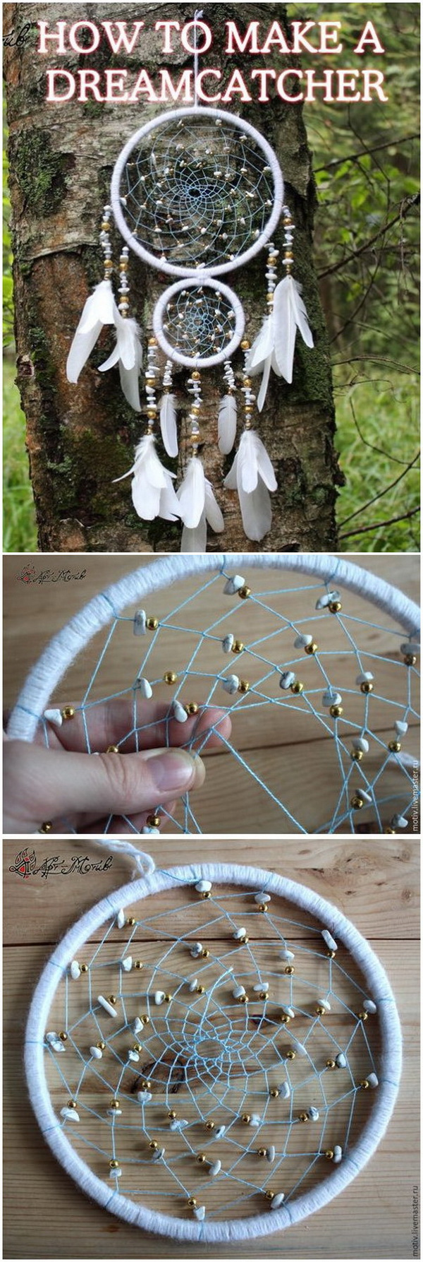 This one is made with beads and white feather! It would totally work both as a spiritual dream catcher and a modern-decor.