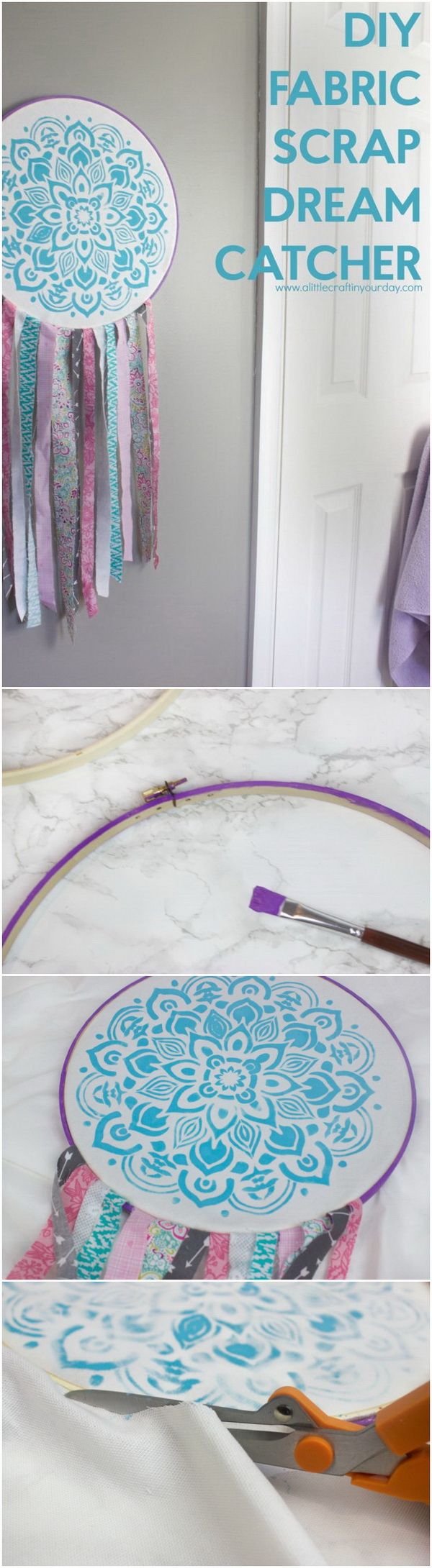 DIY Dreamcatcher from fabric scraps. If you have any fabric scraps lying around, this DIY dream catcher would be the perfect craft for you to make this weekend.