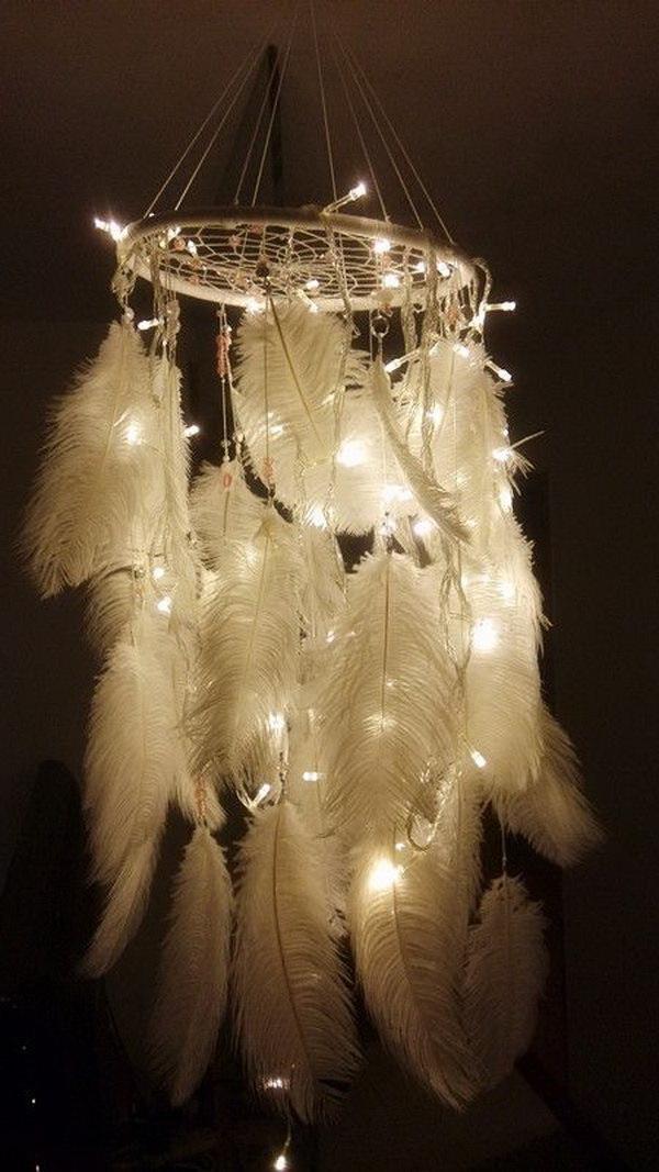 Lighting chandelier inspired dream catcher.
