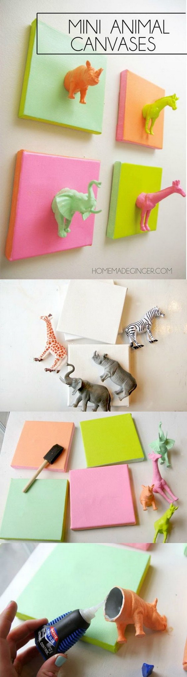 Mini Plastic Animals DIY Canvas Art. What a fun and easy idea to create a canvas art with plastic animals , wooden plaque and a touch of your favorite spray paint. It's perfect for a nursery, kids' room, or craft studio.