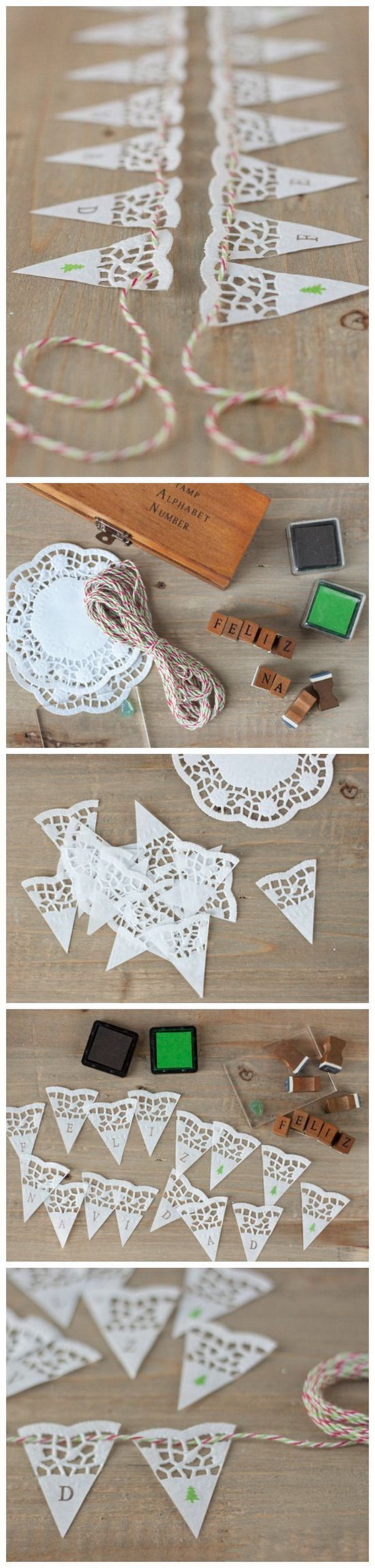 Handmade Doily Paper Banners. These paper banners are great to be used to both adorn and announce an special occasion or holiday. It is super easy and fun to make with your kids together.