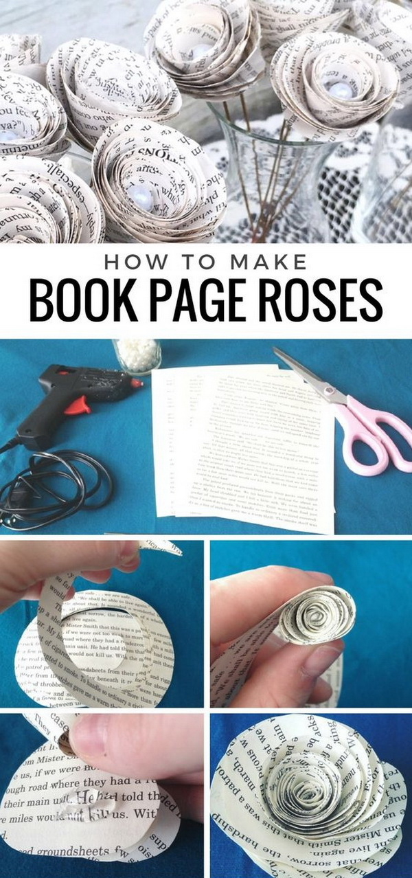 Book Page Roses. Make a set of these beautiful rose with old book pages. These are perfect for any occasion such as wedding decorations, birthday parties and more.