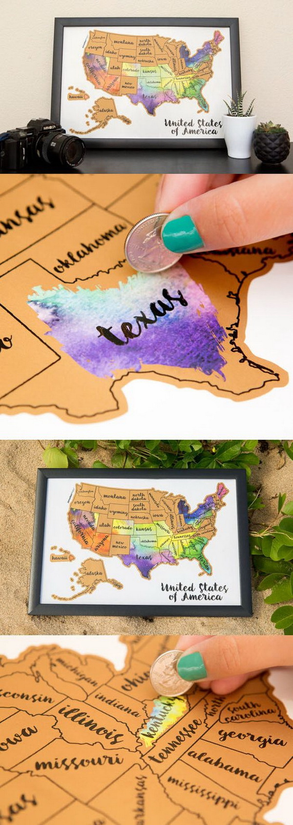 Handmade Watercolor USA Map. Create a unique and gorgeous wall art by using a coin to scratch off the foil to reveal the bright colors of the states you've visited. Bright, bold & interactive wall art to adore your room!
