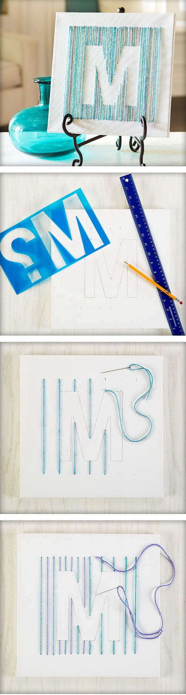 Yarn Letter Canvas. Outline the letters you like in a board and thread the needle with yarn. Super easy to make in an hour and turns out to be such a great DIY for your decor!