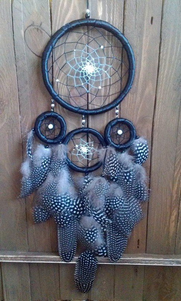 Black dream catcher. Boho dreamcatcher.
