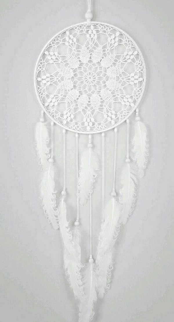 All in White Dream Catcher. The lacy or crocheted patterns for the hoop and white feathers and beads hanging down to the bottom. All these patterns, color scheme and decorations are for an elegant and vintage-feminine charm!