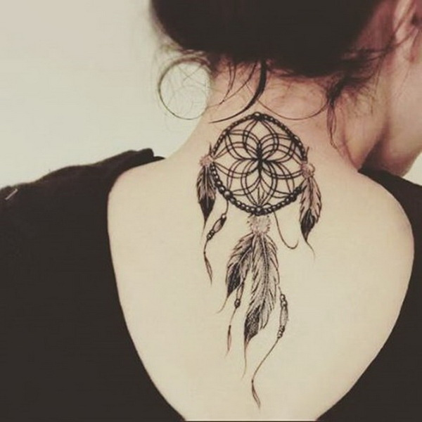 Dreamcatcher tattoo on the back of neck.