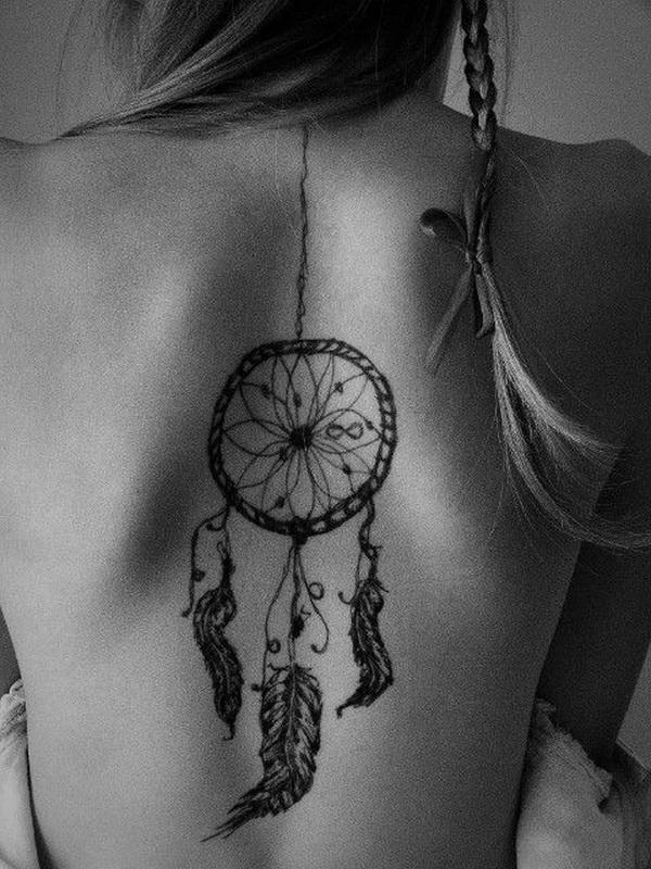 Back dream catcher tattoo design.