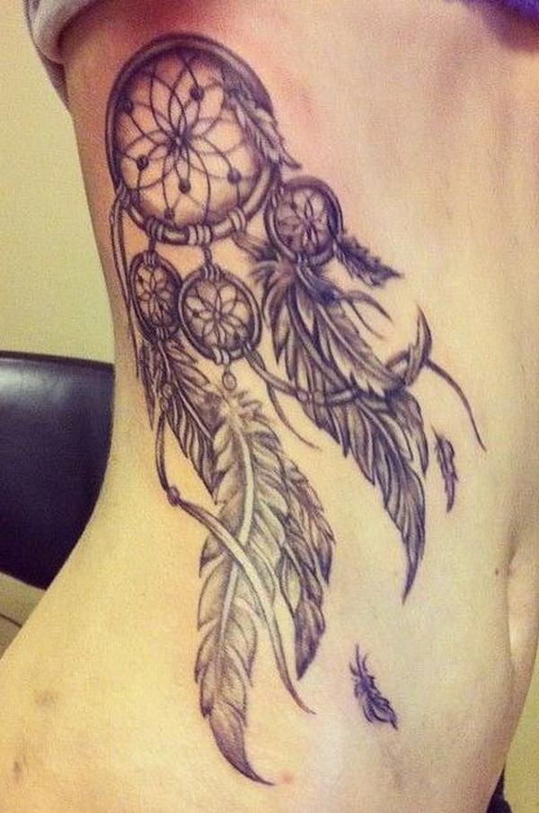 Vintage dreamcatcher tattoo design on side back.