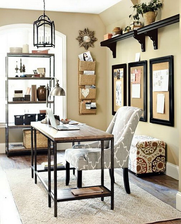 Industrial style home office design idea. The simple, elegant industrial style has been very popular during the interior designs. Here we are bringing it into the home office.