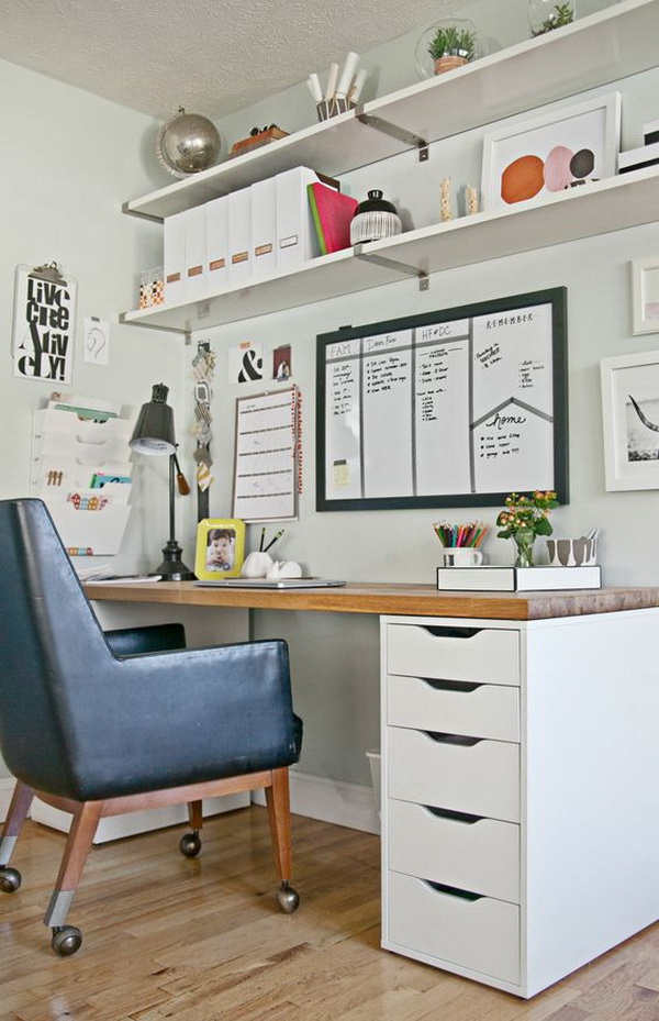 Home office with open shelves for display and storage.