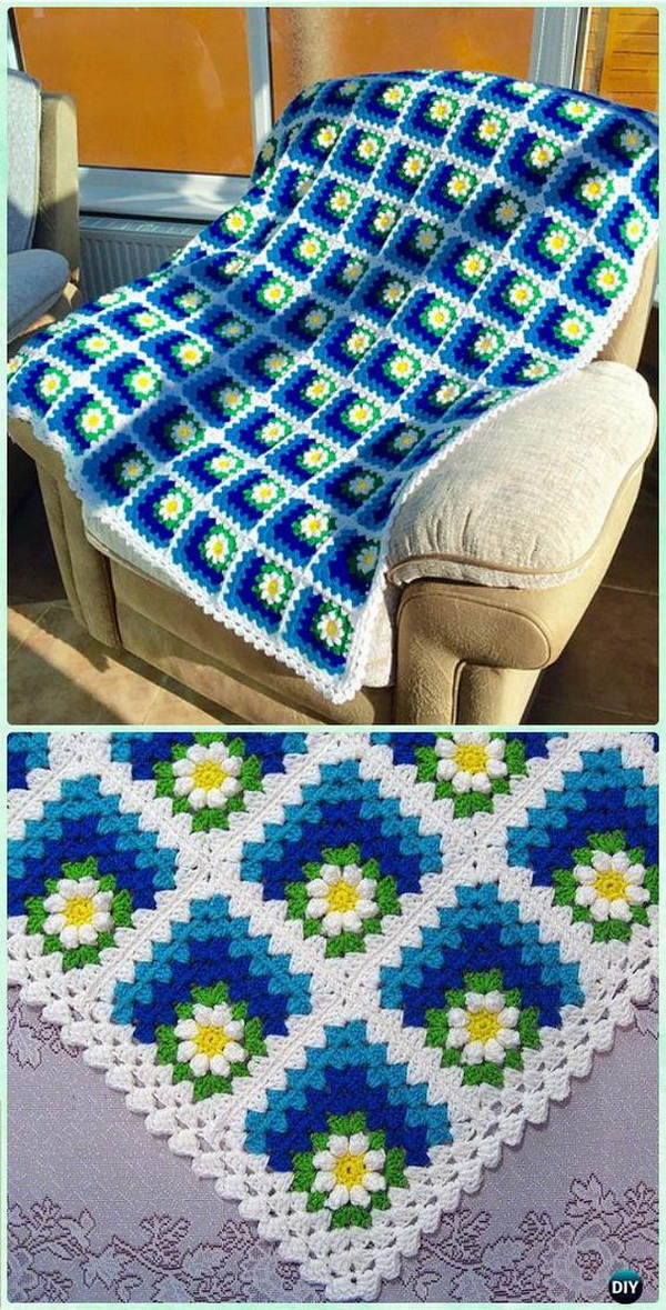 Mitered Summer Daisy Baby Blanket.