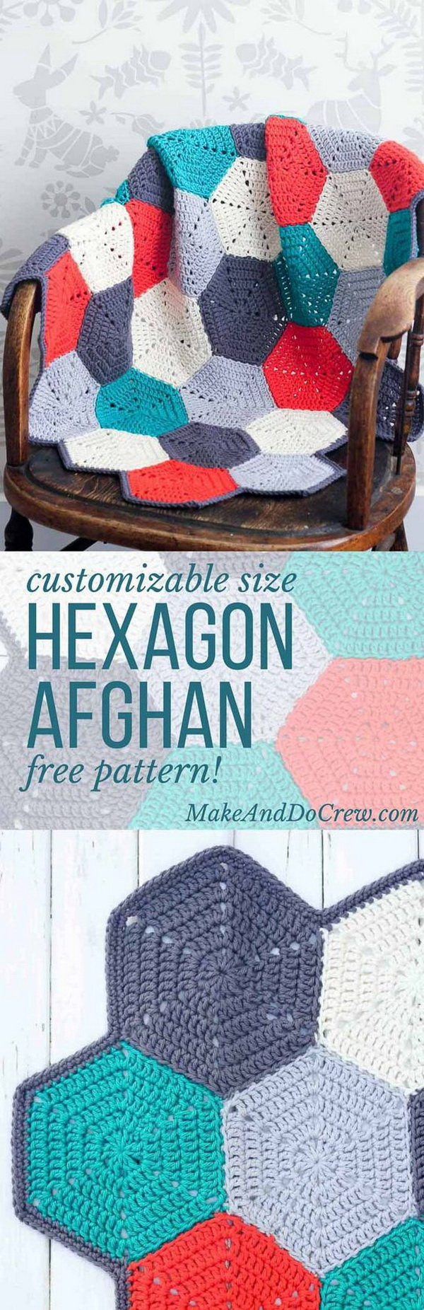 Happy Hexagons Free Crochet Afghan Pattern.