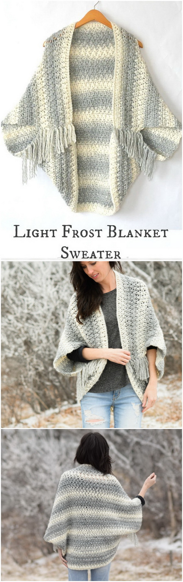 Light Frost Easy Crochet Blanket Sweater. Soft yarn, warm and comfortable! This new Light Frost Blanket Sweater pattern is not difficult to make. It uses a simple crochet stitch combination.