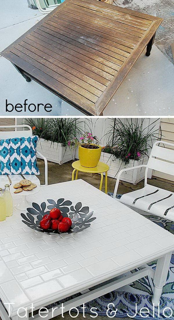 DIY Subway Tile Table Redo.