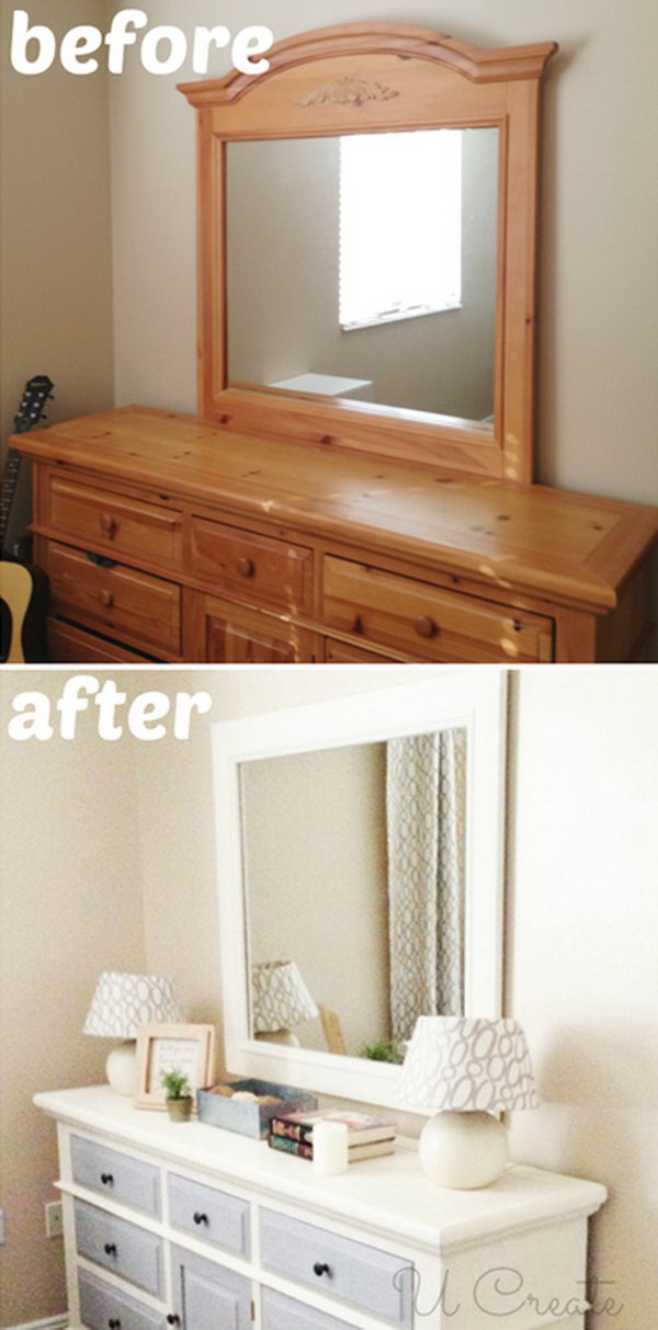 Dresser Makeover Using Chalk Paint. Painting your dresser is a fun and easy way to turn an old item of furniture into a completely new piece. Here is a free project plan to refresh an outdated dresser with chalk paint.