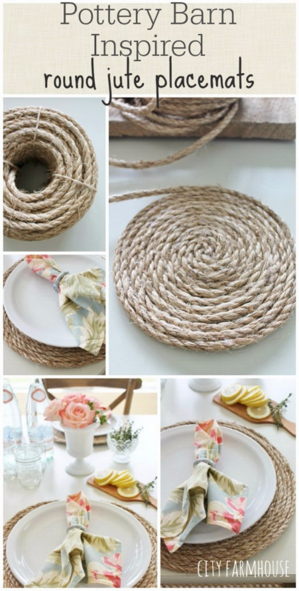 Pottery Barn Inspired Round Jute Placemats. Try making place mats from jute rope and add a touch of rustic country charm to your table.