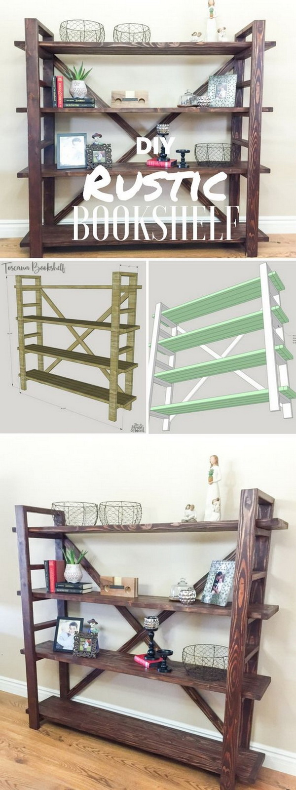 DIY Rustic Bookshelf. A beautiful way to display your awesome collection of books and magazines and other odds and ends with this rustic bookshelf that you can make at home!