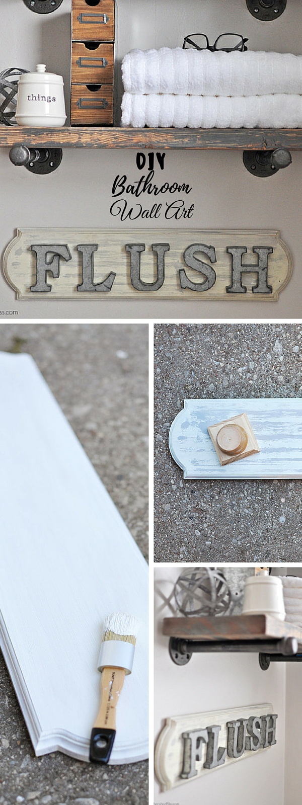DIY Industrial Farmhouse Bathroom Sign. Add much more character, style and rustic warmth to your bathroom room decor with this easy to make Sign!