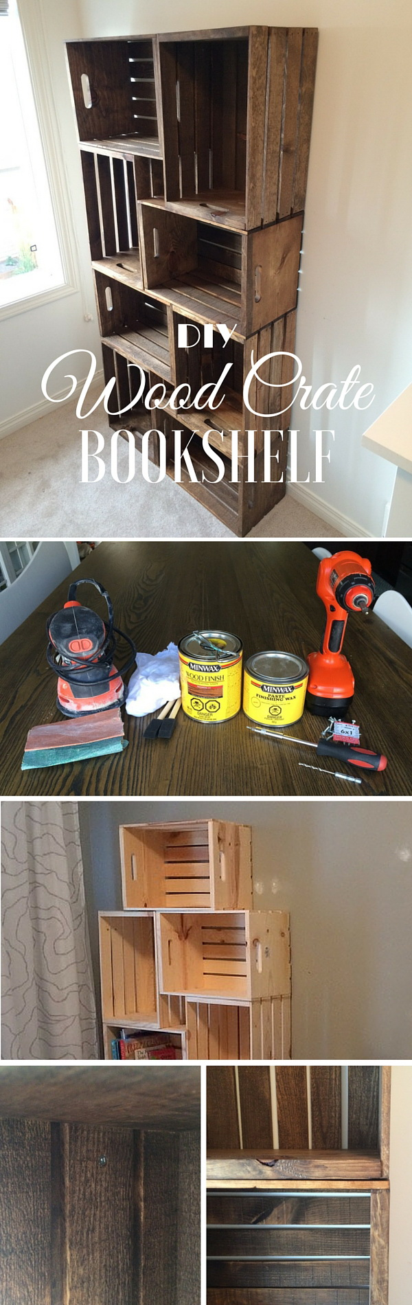 DIY Crate Bookshelf. Wood crates are one solution to both time and money issues for the DIY furniture and decorations for the home. Wood crate furniture can also give a warm, rustic feel to your business!