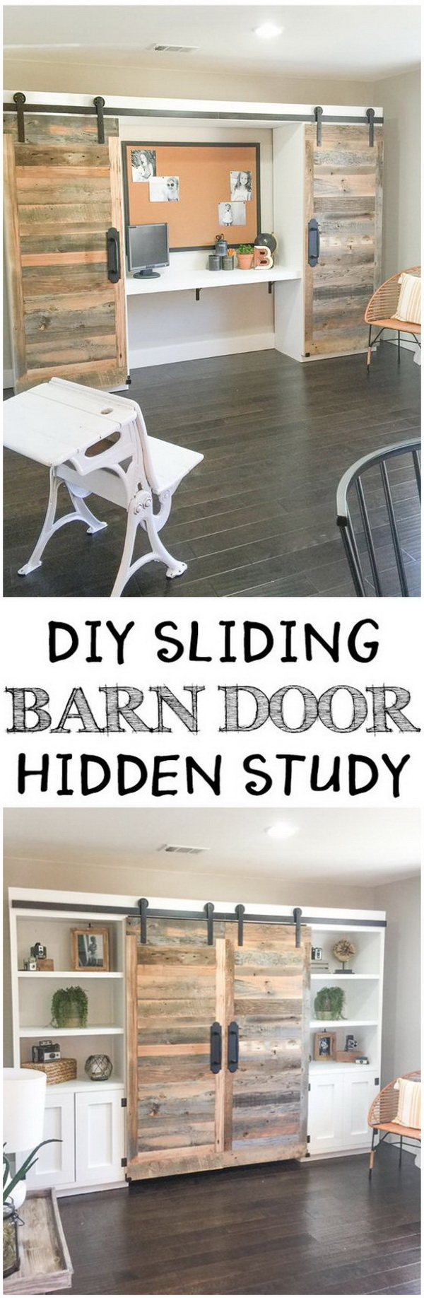 Rustic DIY Sliding Barn Doors. Upcycle an old door from a salvage shop and the materials into a sliding barn door hidden desk system! It saves much space and can also add a charming rustic look to your home. Perfect home office piece!