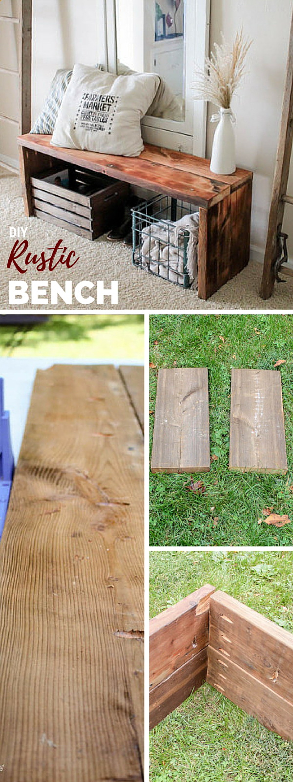Simple DIY Rustic Wood Bench. Add warm texture and little rustic accents to your home decor with this DIY wood bench.