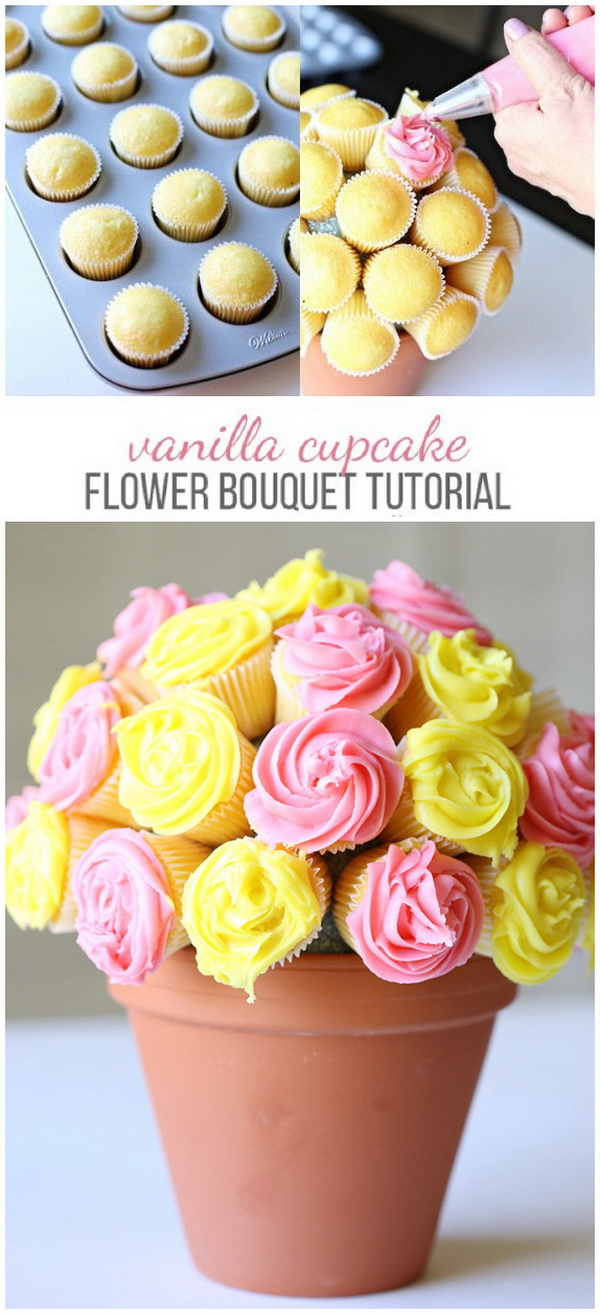 Mother's Day Crafts and gifts: Vanilla Cupcake Flower Bouquet.