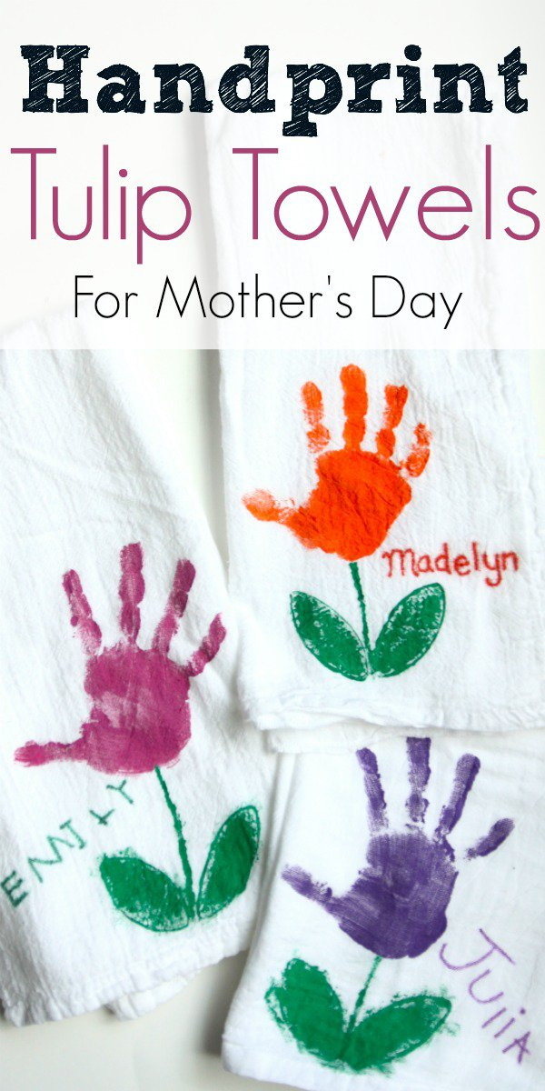 Mother's Day Crafts and gifts: Handprint Tulip Towels for Mother's Day.