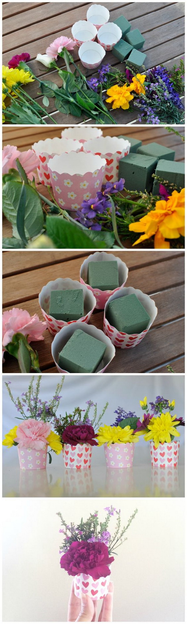 Mother's Day Crafts and gifts: Mini Flower Arrangement.