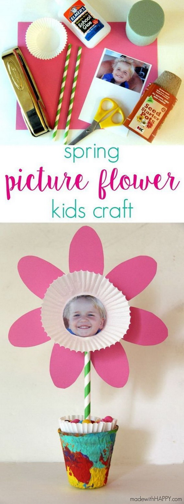 Mother's Day Crafts and gifts: Handmade Spring Picture Flower.