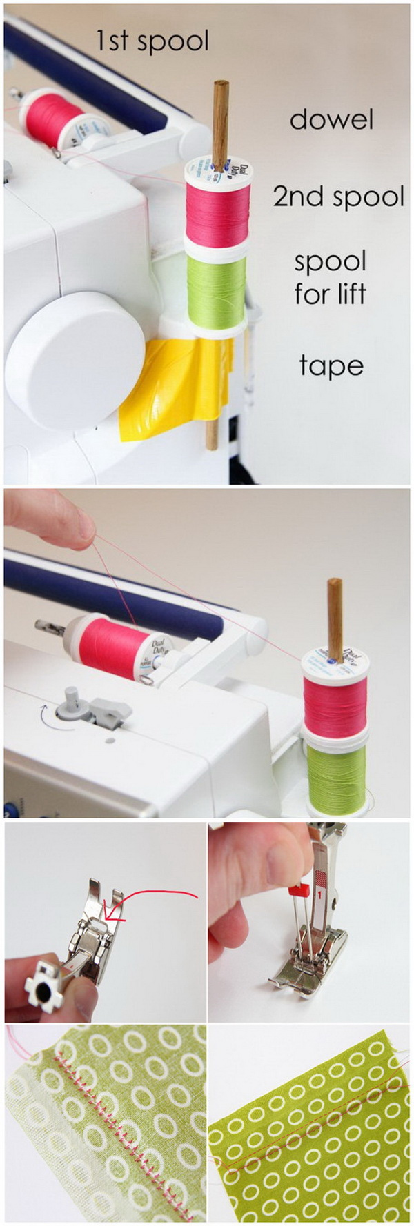 Genius Sewing Tips & Tricks: Using The Double Needle in Your Sewing Project Without The 2nd Spool Holder.