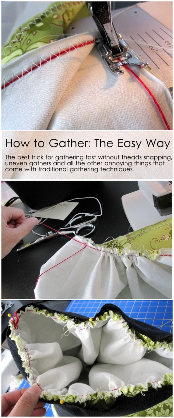 Genius Sewing Tips & Tricks: How to Gather in an Easy Way.