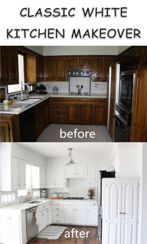 Bright and cheerful white painted cabinets.