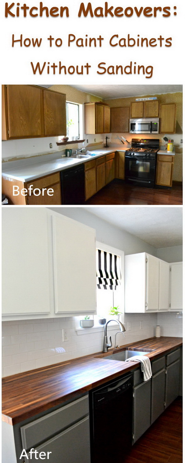Kitchen Makeover: How To Paint Cabinets Without Sanding.