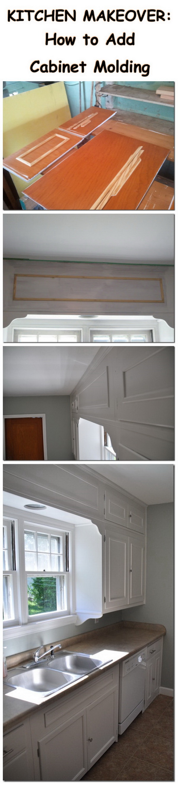 KITCHEN MAKEOVER:How to Add Cabinet Molding.