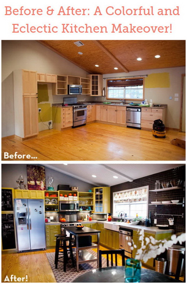 Before & After: A Colorful and Eclectic Kitchen Makeover!
