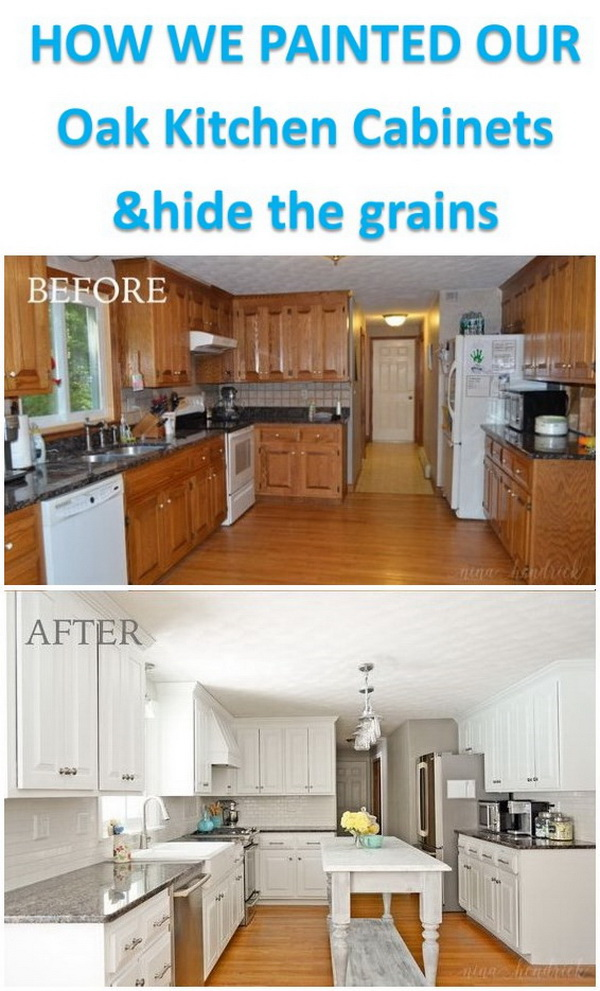 How We Painted Our Oak Cabinets and Hid the Grain.