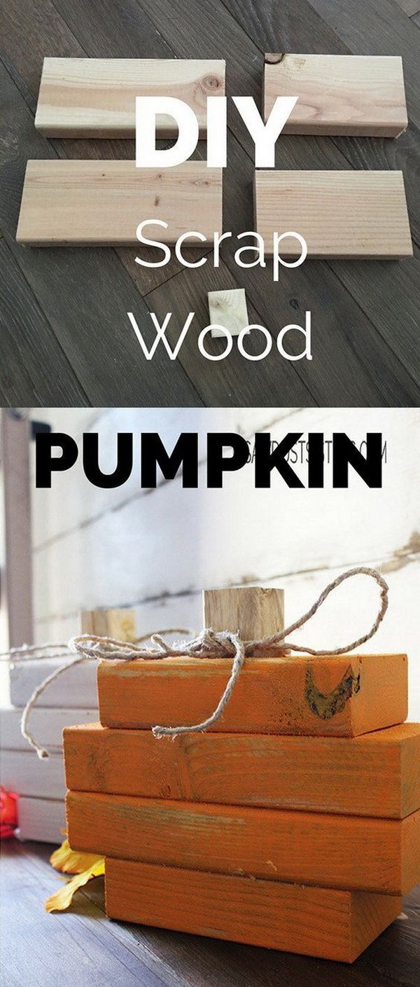 Easy DIY Scrap Wood Pumpkin. Easy scrap wood pumpkin made with 2x4s wood blocks and chalk style paint. Great for  farmhouse style home decoration for this fall and thanksgiving season!